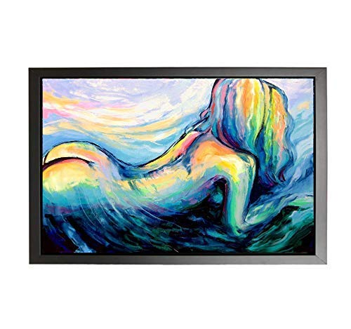 Abstract Female Figure huge 24x36 framed to 26x38 Ready to hang Black Framed CANVAS print Absorbing The Earth And Sky by Aja
