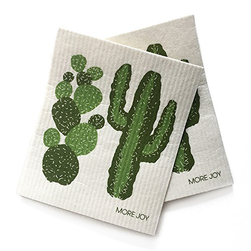 MORE JOY Swedish Dishcloth, Cactus, Eco-Friendly, Set of 2, Green by MORE JOY