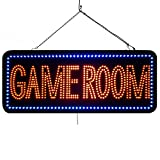 Large LED Open Sign ''GAME ROOM'' 13''X32'' size, ON / OFF / FLASHING MODE (LED-Factory #1973fba)