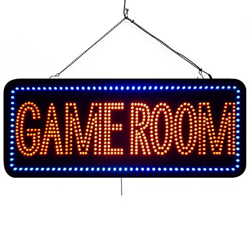 Large LED Open Sign ''GAME ROOM'' 13''X32'' size, ON / OFF / FLASHING MODE (LED-Factory #1973fba) by LED-Factory