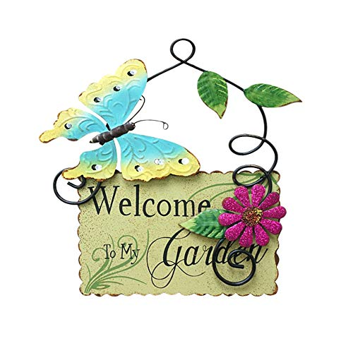 (Metal Garden Welcome Sign with Butterfly Decor, Outdoor Hanging Welcome Sign for Garden Decoration Yard)