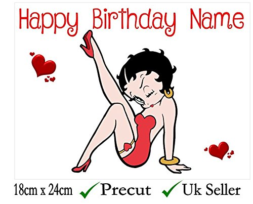 Betty Boop Inspired Edible Icing Cake Topper Precut - Personalise at the (Review Your Order) section Add Gift Options (2. Square 7.5inch) Wigig1966