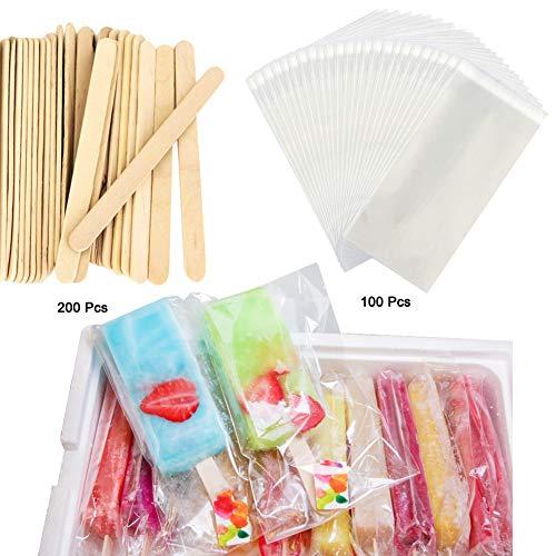 Wellood 200Pcs Craft Sticks Ice Cream Sticks & 100pcs bags Wooden Popsicle Sticks 4-1/2 Length Treat Sticks Ice Pop Sticks(Vacuum packing)