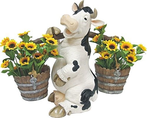C&F Garden Decor Outdoor Polyresin Cow Planter Statue Wit...
