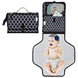 Baby Changing Pad, Portable Changing Pad, Diaper Bag, Changing Mat, Foldable Travel Changing Station | Stroller Strap, Carry Handle, Pockets for Wipes by Comfy Cubs (Black, Large with Pockets)