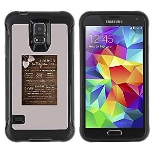 Paccase / Suave TPU GEL Caso Carcasa de Protección Funda para - poster love heart brown grey valentines - Samsung Galaxy S5 SM-G900