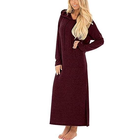 ABsolute Vestido Bolsillos Vestidos de Mujer, Maxi Largo sólido con Capucha y Manga Larga Casual: Amazon.es: Ropa y accesorios