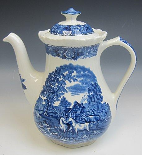 - Adams China ENGLISH SCENIC BLUE SCALLOPED Mini Coffee Pot w/Lid EXCELLENT