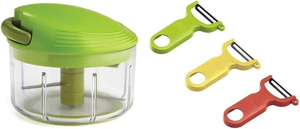 Kuhn Rikon Pull Chop Chopper/Manual Food Processor with Cord Mechanism, Green, 2-Cup & Rikon Original Swiss Peeler 3-Pack Red/Green/Yellow