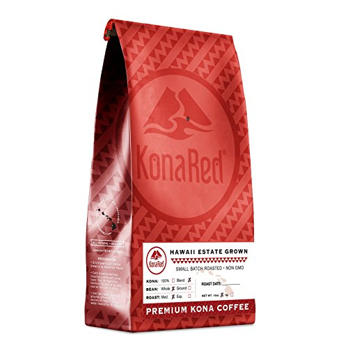 KonaRed Premium Hawaiian Kona Blend Coffee, Medium Roast, Whole Bean, 10 oz Bag
