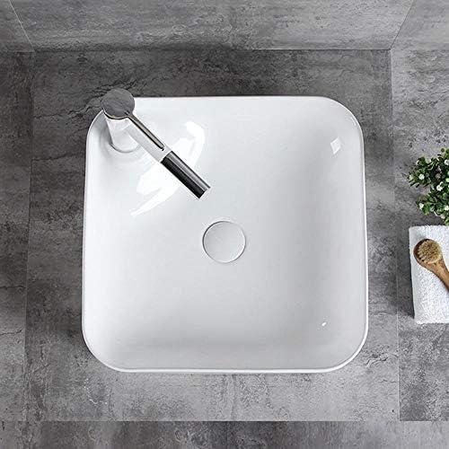 洗面ボウル 浴室の容器シンクシンプルスリムスクエアエッジの上カウンター磁器ボウル 浴室の台所の流し (Color : White, Size : 44x34x12cm)