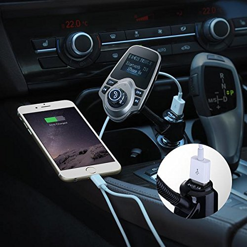 FM Transmitter, Primacc MP3 Player Bluetooth Radio Car Transmitter with Aux Port 5
