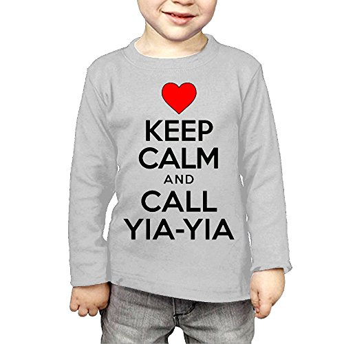 ZheuO Boys & Girls Infant Keep Calm Call Yiayia Soft 100% Cotton Tee Unisex Gray 4 Toddler