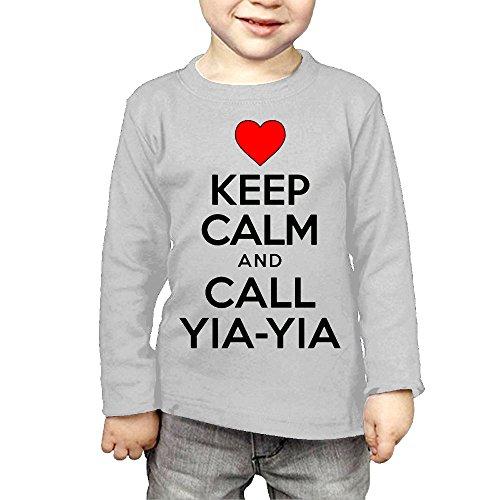 ZheuO Boys & Girls Infant Keep Calm Call Yiayia Soft 100% Cotton Tee Unisex Gray 4 Toddler