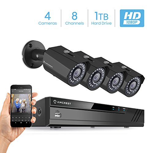 Amcrest Full-HD 2MP Video Security System, (4) x 2MP IP67 Weatherproof Bullet Cameras, 65ft IR LED Night Vision, Smartphone View, Pre-Installed 1TB Hard Drive, AMNV20M8-4B-B
