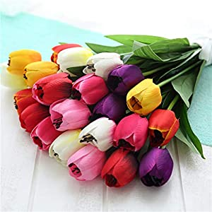 B bangcool 16 Branches Artificial Flower Decorative Simulated Tulip Fake Flower for Easter Decor 8