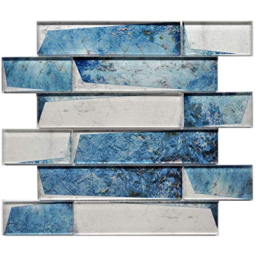 Blue Mediterranean Style Mosaic Tile Polished Glass Inkjet Wall Decor Tiles for Backplash Kitchen Bathroom