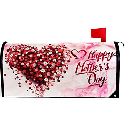 (Wamika Happy Mothers Day Pink Floral Heart Mailbox Cover Magnetic Standard Size,Spring Red Super Mom Letter Post Box Cover Wrap Decoration Welcome Home Garden Outdoor 21
