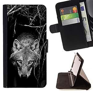 - Queen Pattern FOR Samsung Galaxy Note 4 IV /La identificaci????n del cr????dito ranuras para tarjetas tir????n de la caja Cartera de cuero cubie - tame wild wolf dog black white