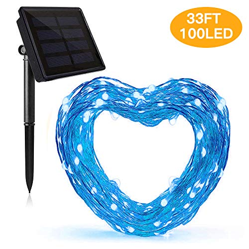 100 Blue Solar Powered Led Outdoor String Fairy Lights in US - 6