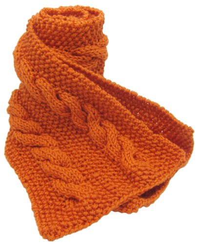 Knitted by Hand with Love - PURE ALPACA Cable Scarf - Fresh Orange (Made to Order) by BARBERY Alpaca Accessories