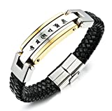 Bags Under Eyes Heart Disease AmDxD Jewelry Stainless Steel Link Bracelets for Men Braided Leather Engraved 6 Word Memoirs Gold 21CM