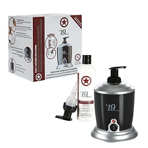 Wahl Professional '19 Hot Lather Machine #68908 - Professional Barber Quality Dispenser with Internal Liquid Pump, Bottle, Additional Bonus Liquid Pump, and 12 oz. Bottle of Pre-Mixed Liquid Lather