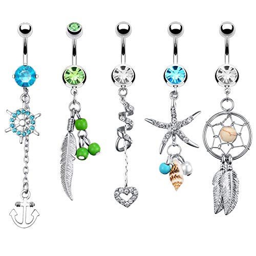 BodyJ4You 5PC Belly Button Rings Anchor Seashell Nautical Dangle Steel Bar 14G Women Navel ()