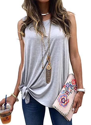 Logtem Womens Sleeveless Tie Knot Front Basic Jersey Tank Top T Shirts Grey -