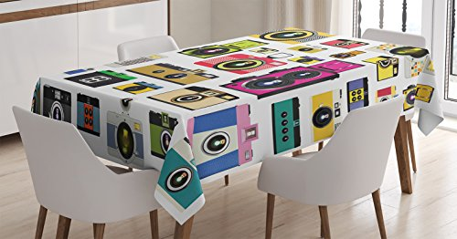 Ambesonne Vintage Tablecloth, Vintage Old Fashioned Photo Cameras Hobby Studio Themed Graphic Design, Dining Room Kitchen Rectangular Table Cover, 52