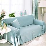 RUGAI-UE Sofa Slipcover Linen pure color sofa thickening sofa cover coffee green sofa cover anti-skid,200×200,Linen blue