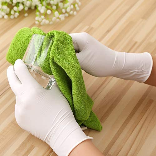 Color : White 100pcs, Size : L Disposable Latex Gloves White Non-Slip Acid and Alkali Laboratory Rubber Latex Gloves Household Cleaning Products