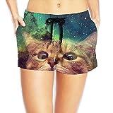 Galaxy Cat Women Sports Beach Pants Swimming Trousers Leisure Shorts Running Shorts Breathable Beach Pants