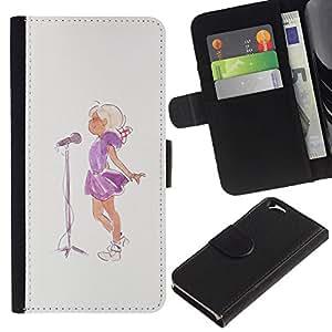 KingStore / Leather Etui en cuir / Apple Iphone 6 / Cantante Acuarela Pintura Micrófono