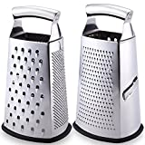 Latest 4-Sided Box Grater With Lifetime Replacement Warranty - Rated No.1 Best Stainless Steel Food Shredder for Cheese, Ginger, Lemon, Orange, Nuts & Vegetables Like Cabbage, Carrot and Potato
