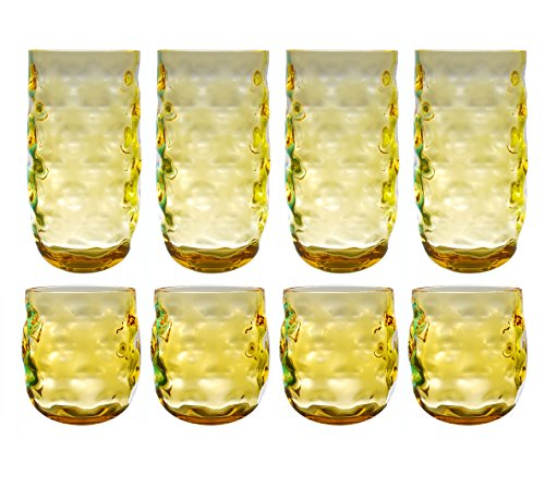 QG Clear Colorful Acrylic Plastic 14 & 23 oz. Cup Drinking Glass Tumbler Set of 8 Yellow