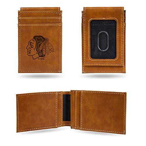 (Rico Industries NHL Chicago Blackhawks Laser Engraved Front Pocket Wallet, Brown)