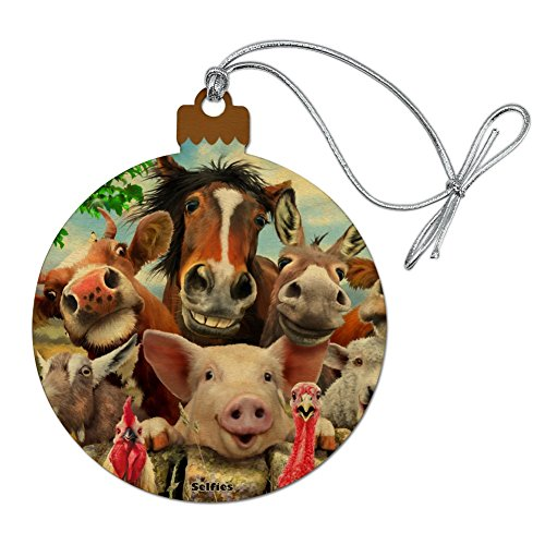 GRAPHICS & MORE Farm Selfie Horse Pig Chicken Donkey Cow Sheep Wood Christmas Tree Holiday Ornament