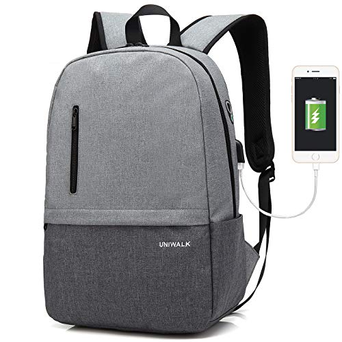 Laptop Backpack, Waterproof School Backpack With USB Charging Port For Men Women, Lightweight Anti-theft Travel Daypack College Student Rucksack Fits up to 15.6 inch Computer ()