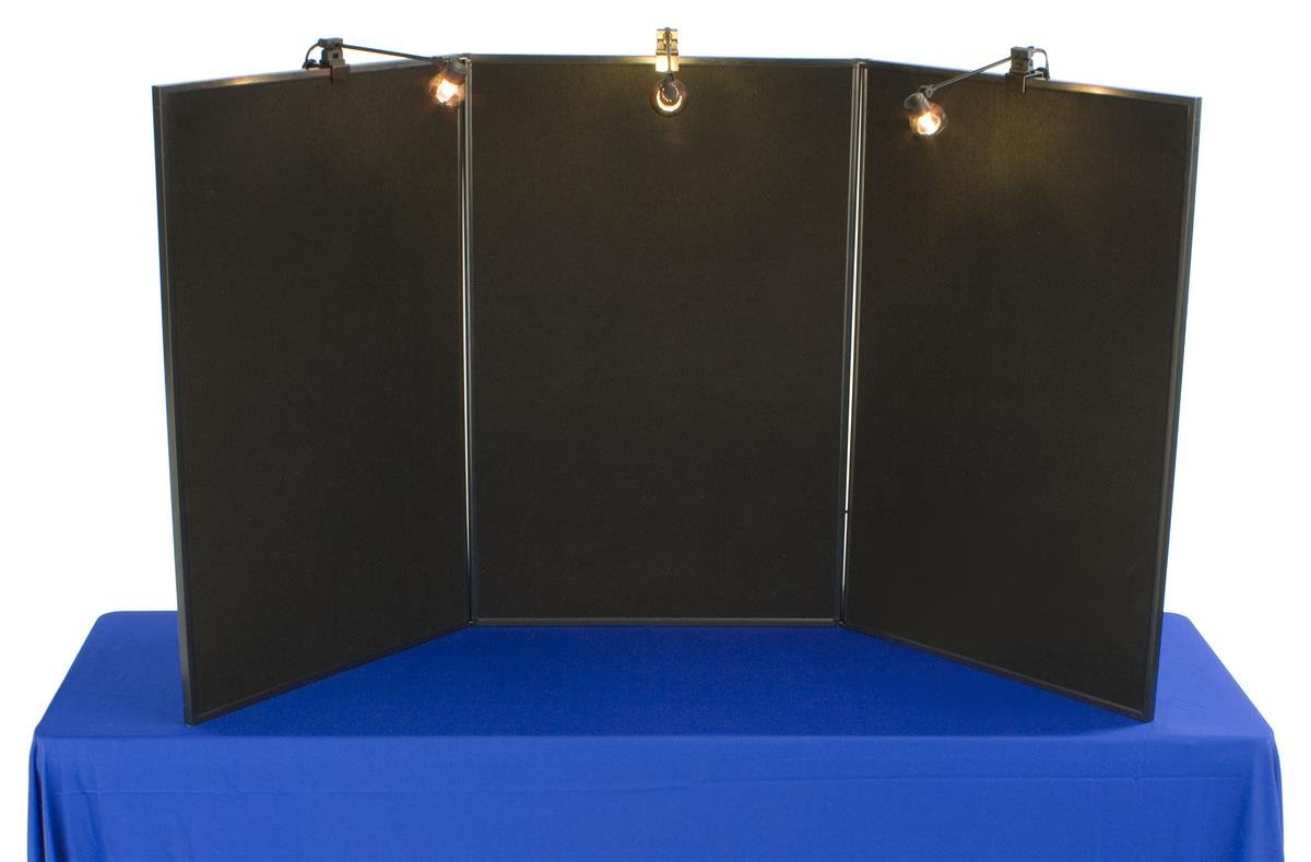 3-Panel Tabletop Exhibition Board, 72 x 36, with 3 Spotlights - Black Hook & Loop-Receptive Fabric and Write-on Whiteboard