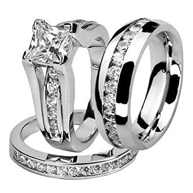 half for bands set band ring ctw solitaire dress man eternity accented wedding sets bride