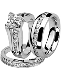 his and hers stainless steel princess wedding ring set and eternity wedding band - Stainless Steel Wedding Ring Sets