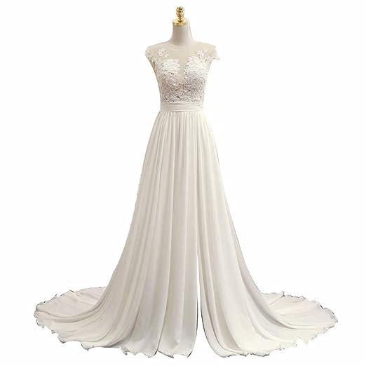 Meaningful Women A Line Chiffon Lace Beach Wedding Dress Long Bridal Dress  Prom Dress Size 0 cb237cfa75