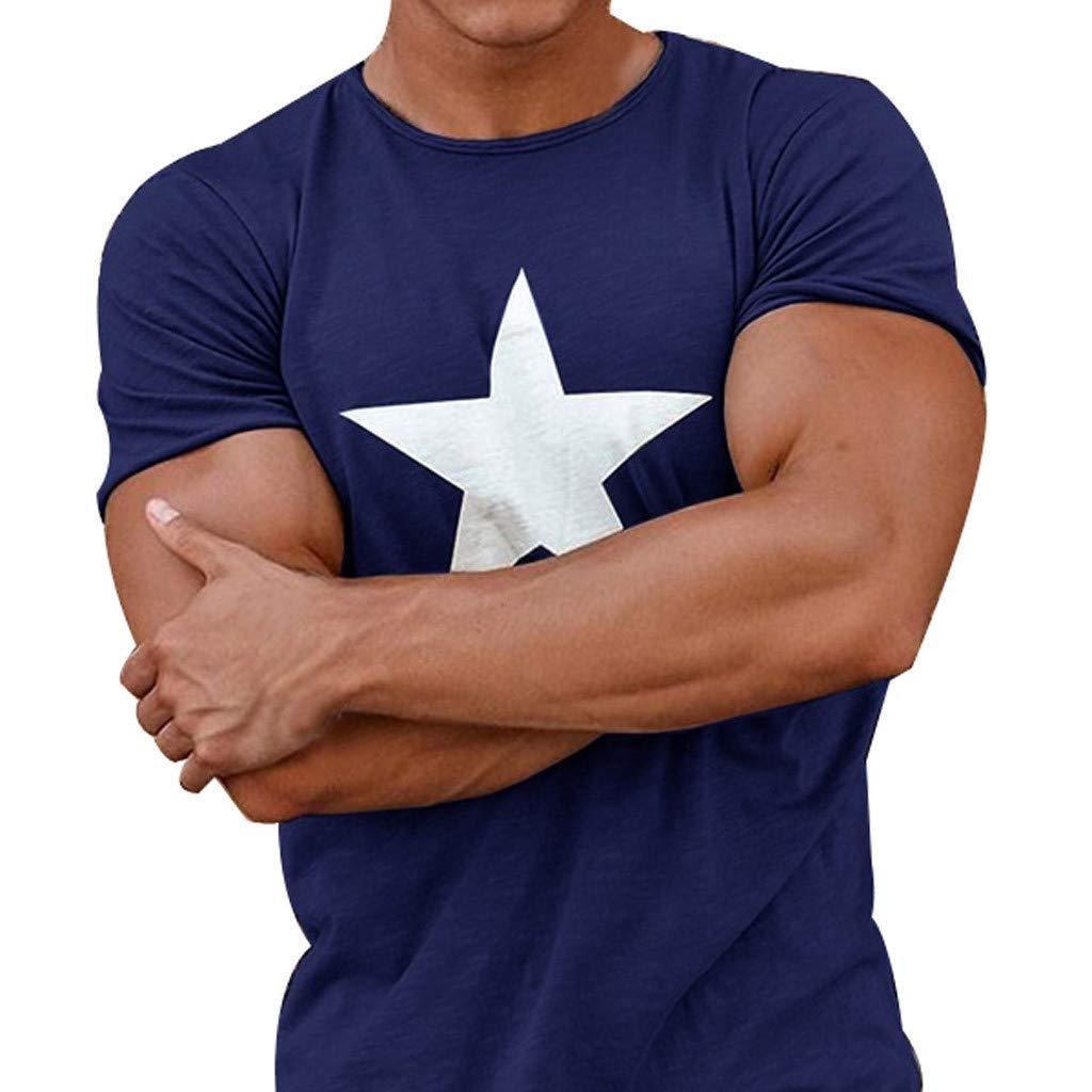 Printed Pentagram Short Sleeve T-Shirt,Men Casual Spring Summer Blouse Print O-Neck Tops Blue