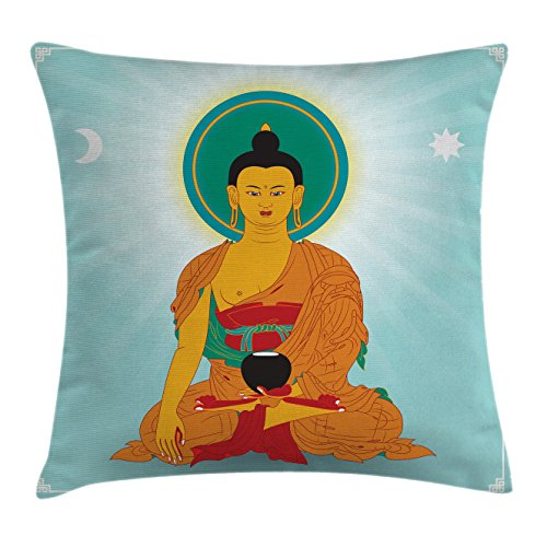 Dharma Wheel Throw Pillow Cushion Cover by Ambesonne, Asian Monk and Meditation Theme Indian Boho Style Oriental Artistic, Decorative Square Accent Pillow Case, 16 X 16 Inches, Orange Mint Green - Zipper Dharma Von