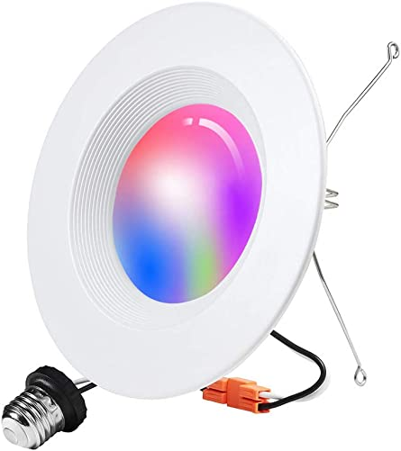 Smart recessed Lighting, 5 6 inch Retrofit Ceiling Down Light 2.4G WiFi Not 5G , RGBCW Multicolor Color Changing Downlight Compatible with Alexa Google, 2700K-6500K WiFi Can Light Blubs 15W