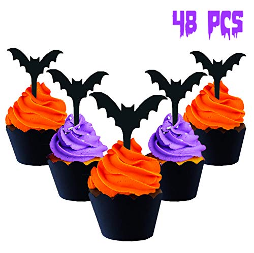 Halloween Bats Cupcake Cake Topper Wrappers | Party Decorations Supplies | Halloween Cupcake and cake | DIY food decor | Kids Teens Adults | Haunted House Spooky Fall Decor | indoor and outdoor | Scary Crafts 2019 |