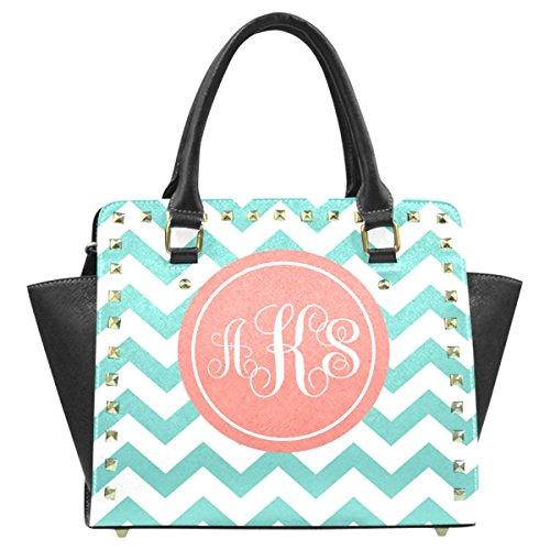 Interestprint Chevron Pu Leather Rivet Office Handbag Shoulder Satchel Bag V1666