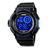 Mens Digital Watch, Electronic LED Sport Watch Waterproof Military 50M 5ATM Water Resistant Stopwatch 7 Color Backlight- Blue