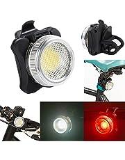 USB wiederaufladbare Fahrrad Fahrrad COB LED Kopf vorne hinten Rücklicht, USB Wiederaufladbare Wasserdichtes 4 Modi LED Fahrradlicht, Rücklicht Fahrradlampe Lampenwarnleuchte Set